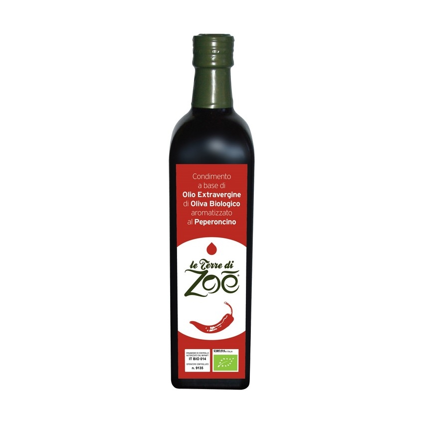 Dressing based on Organic Extra Virgin Olive Oil from Calabria flavored with chilli pepper Le Terre di Zoè