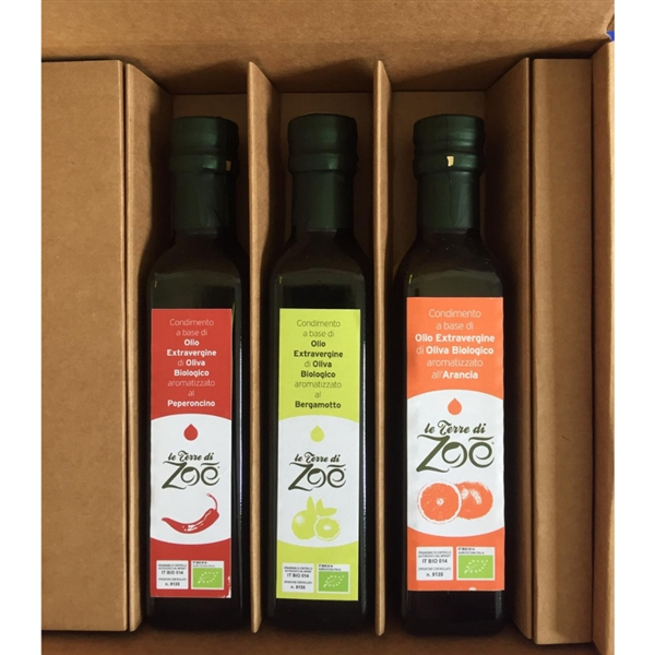 Bio Box avec 3 vinaigrettes à l'orange, bergamote et piment
