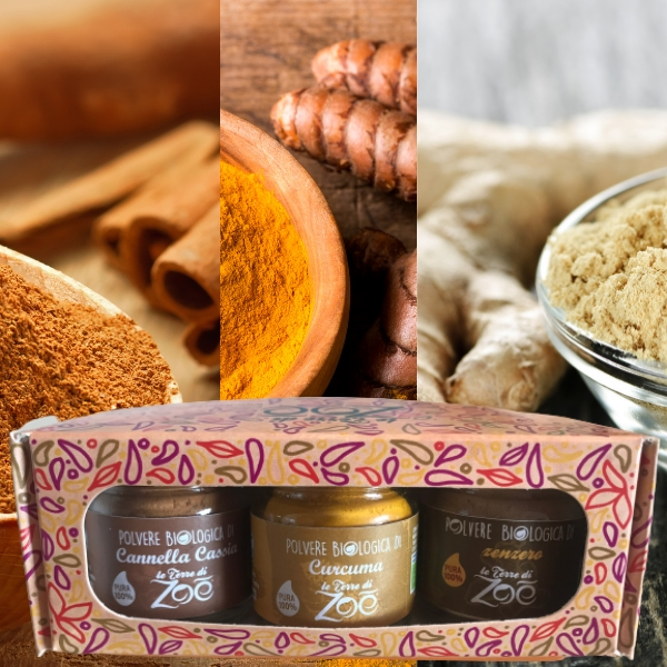 Tris Spices Cinnamon Cassia, Turmeric, Ginger with gift box