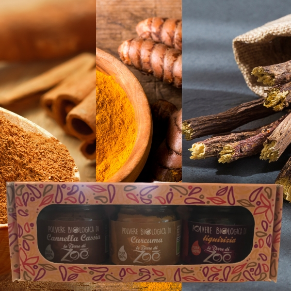 Tris Spices Cinnamon Cassia, Turmeric, Licorice with gift box