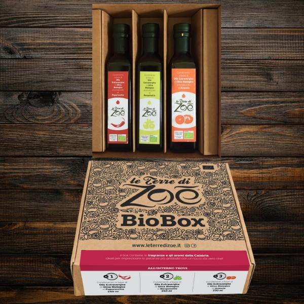 Bio Box con i 3 condimenti Aromatizzati Bio : all'Arancia, Bergamotto e Peperoncino