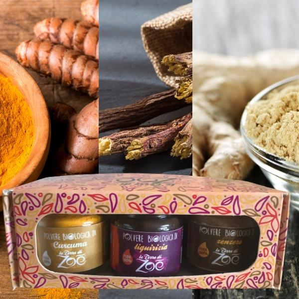 Tris Spices Cúrcuma, Regaliz y Jengibre con caja regalo