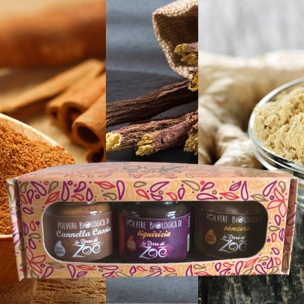 Tris Spices Zimt, Süßholz und Ingwer mit Geschenkbox