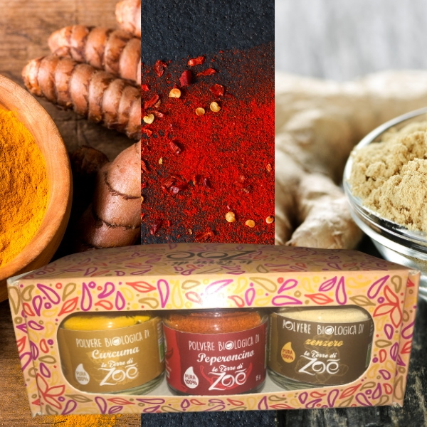 Tris Spices Turmeric, Chili and Ginger with gift box