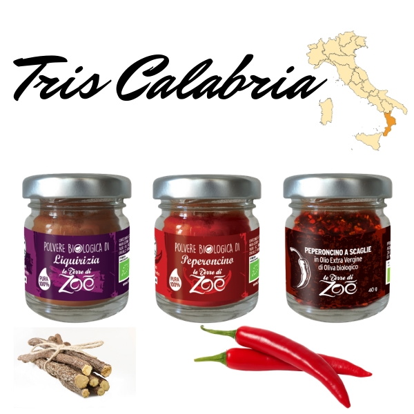 Tris Calabrian Gewürze: Süßholz, Chilipulver und Flocken in Öl